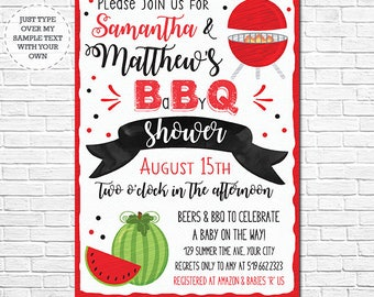 Barbecue Baby Shower - BBQ Baby Shower Invitation - Baby Q Baby Shower Invitation - Instantly Download & Personalize in Adobe Reader at home