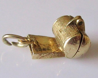 9ct Gold Wolf Whistle and Wolf Opening Charm or Pendant