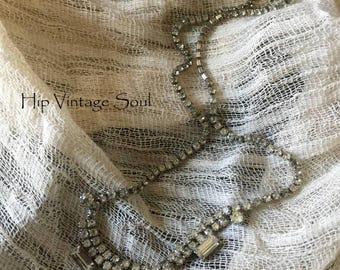 Vintage 1960's Rhinstone Choker Necklace, Wedding Rhinestone Necklace, Something Old, Retro Jewelry