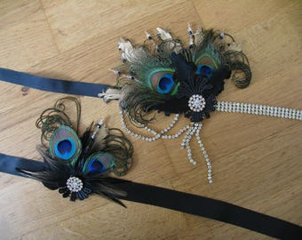 Black Gold Goose Peacock Feather + Lace Crystal Flapper Headband + Wrist Corsage SET - Gatsby Party Fascinator 1920s Haloween Wedding