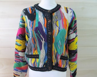 Australia Vintage 90s Coogi Cardigan Colorful Sweater Women's Size Medium