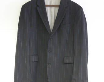 Vintage Kenzo Mens Blazer -Pinstripe Suit Jacket-Designer Quality Menswear-blue-two tone-Black- Formal-Large 42 chest