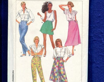 1980s Simplicity 8027 Gauchos Culottes Capri Pants & Skirt Pattern Size 16..18..20 UNCUT
