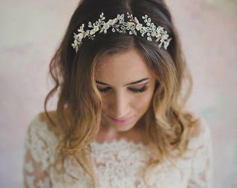 Bridal hair vine - wedding hair accessories - floral hair wreath - silver headpiece - bride hair accessory - frosted crystal (#343)