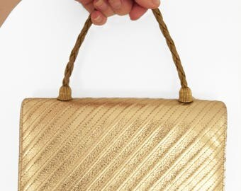 Metallic Gold Evening Bag 1960s Woven Rope Chain Handle Purse Night Party Wedding