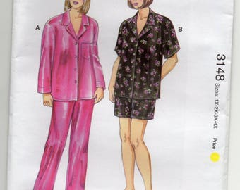 Pajamas Sleepwear Shirt With Collar Pull On Pants Plus Size 1x 2x 3x 4x Sewing Pattern Kwik Sew 3148