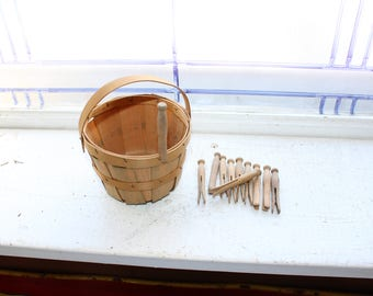 Vintage Toy Laundry Basket and Clothes Pins 1930s