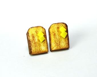 Butter Toast on Earrings