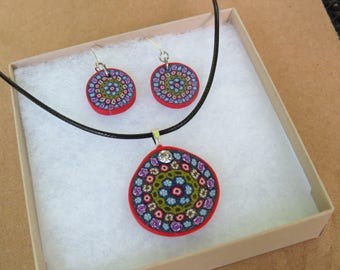 Jewelry sets, Necklace and Earrings, Gift for her, Red necklace, Millefiori necklace, chic jewelry, Artisan jewelry, Handcrafted