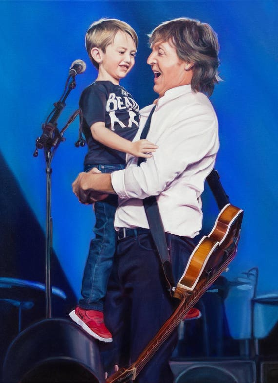 CUSTOM PORTRAIT - Oil Painting - PORTRAIT art for Family - Custom Painting - Paul McCartney - Perfect gift