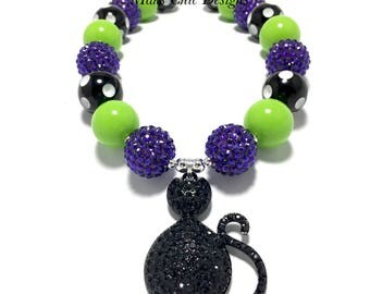 Toddler or Girls Black Cat Rhinestone Chunky Necklace - Purple, Green and White Chunky Necklace - Witch Chunky Necklace - Halloween Necklace