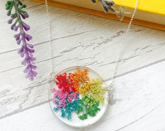 Rainbow Kaleidoscope Necklace - Resin 925 Sterling Silver