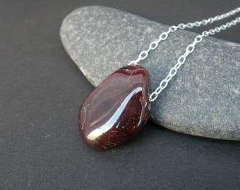 Red Garnet Raw Polished Gemstone Necklace 925 Sterling Silver Chain Necklace, Raw Stone Necklace, January Birthday (GA33)