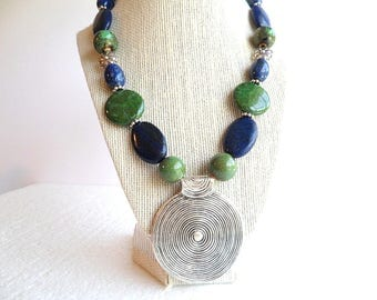 Blue Lapis Green Pyrite Ceramic Silver Tribal Pendant Beaded  Statement Chunky Women's Necklace, Gift for Her, Boho, Bohemian