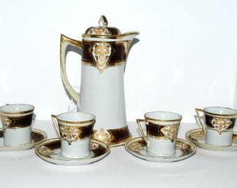 Imperial Nippon  coffee pot 10 piece set  demitasse cups with saucers hand painted