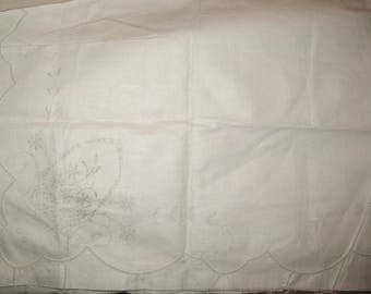 Stamped Linen Cotton Scarf Basket of Flowers to Embroider and Crochet or Trim