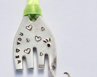 Elephant Ornament WE (heart) YOU  // Eyelashes & Hearts // made from Recycled Fork with Lime Ribbon