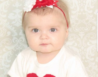 Red and white shabby flower  Headband - Shabby Headband