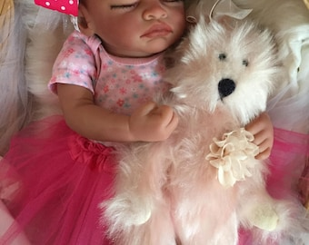 Completed Bi Racial Makayla Completed Reborn Baby Doll from the Aisha 20 inch kit with Painted Hair