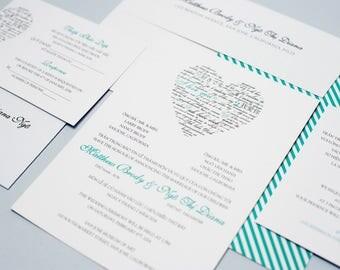 Sample Bilingual Vietnamese Wedding Invitation Set   Love Languages   Blue  Turquoise   Flat Card Invitation