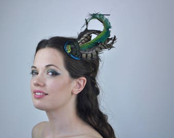 Teal And Green Feather Fascinator