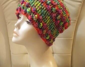 Crochet Boho Beanie Hat, Boho Hat, Beanie Hat, Bobble Hat, Textured Hat, FREE UK DELIVERY