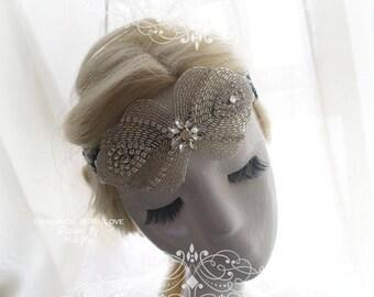 Luxury Black Sequins rhinestone Great Gatsby Headband,masquerade mask , Wedding , 1920s Flapper Headband,Hippie Bohemian Clothing,fascinator