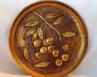 Cherries Plaque Syroco Wood Mid Century