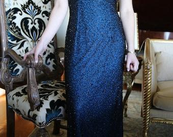 Vintage AD Andretta Donatello Evening Gown black beaded silk chiffon Medium Ladies