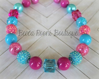 Chunky Bubblegum Necklace,  Fuchsia and Teal Bubblegum Necklace, Bubblegum Necklace, chunky necklace, children's bubblegum necklaces