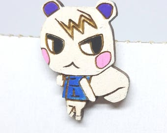Animal Crossing Villager Marshal Painted Pin | Laser Cut Jewelry | Wood Accessories | Wood Pin