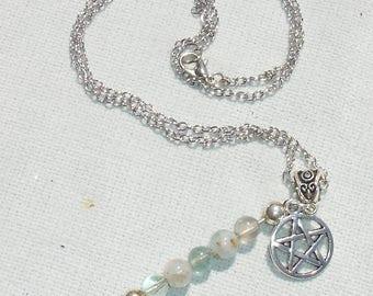 Handmade Pentagram & Gemstone Dangle Necklace