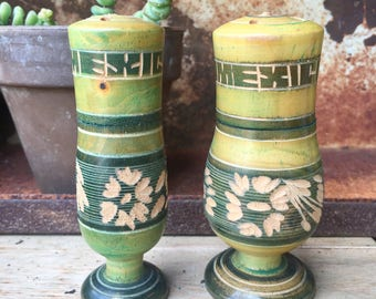 Green Carved Wooden Mexico Souvenir Salt and Pepper Shakers