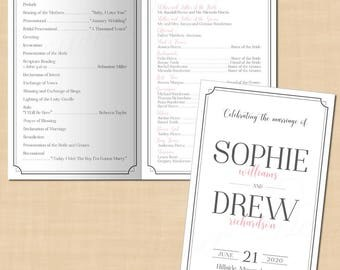 Art Deco Wedding Program Booklet, Pewter Grey 1920's Border (Folds to 5.5x8.5): Text-Editable in Microsoft® Word, Printable Instant Download