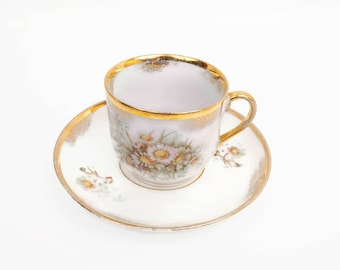 Antique KPM Porcelain Tea Cup and Saucer Berlin Germany Free Hand Painted Pastel Floral 24KT Gold Sceptre Orb Stamp