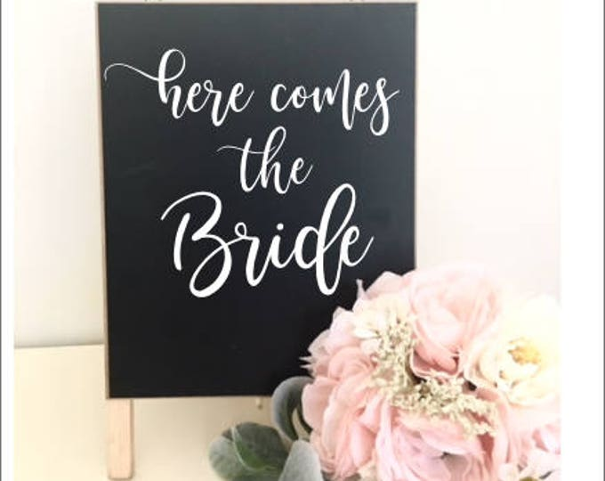 Wedding Decal Here Comes the Bride Wedding Decor DIY Lettering for Chalkboard Sign Rustic Barn Wedding Decal Vinyl Decal Small Various Sizes