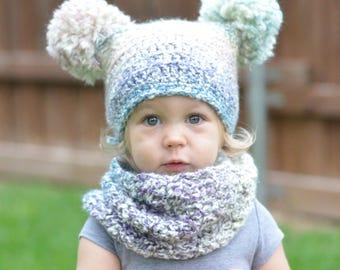 Pom Pom hat, Winter hat, Pom Pom Beanie, Photo Prop, Toddler beanie, Girls winter hat, Double Pom Pom hat, Christmas gift, Baby shower gift