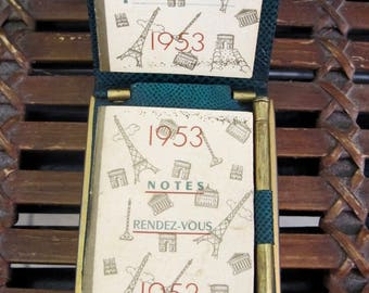 Vintage 50's green leatherette compact and calendar 1953 France