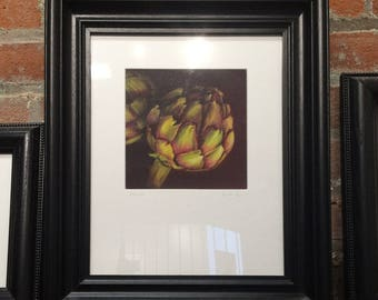 Framed Print of an Original Oil Pastel Painting of Artichokes
