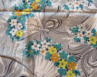 vintage FULL feed sack fabric -- yellow, gold and turquoise fan print