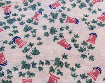 vintage FULL feed sack fabric -- ivy and flower pots novelty print