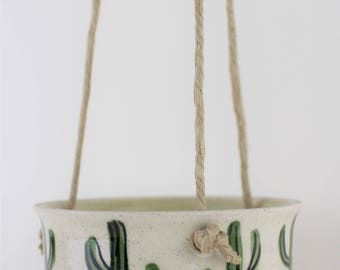 Saguaro cactus porcelain hanging indoor planter, handmade ceramic, small