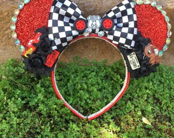 Pre-order LED Pixar Cars inspired Mouse Ears Flower Crown Headband Light up Bow with Mater and Lightning McQueen