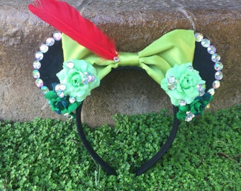 Ready to Ship Peter Pan inspired Ears Floral Rose Mouse Ears Flower Crown Neverland Red Feather