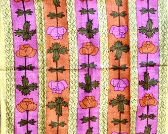 Vintage linen tea towel floral design NOS Poland textile kitchen unused fast colors