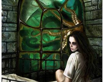 Cthulhu Lies (Medical Trials of the Saints) - Art Print by MANDEM - mythos / Lovecraft / goddess / madness art