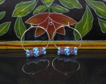 Beaded Hoop Earrings, Sterling Silver Hoops, Small Hoops, Beaded Wire Earrings, Dangle Earrings, Beaded Silver Hoops, Gifts under 30