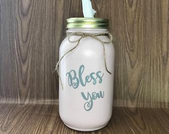 Mason Jar Tissue Holder / Tissue Holder / Kleenex Holder / Mason Jar / Bless You / Bless You Tissue Holder / Blush Pink and Gray