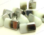 White and Half Plated Glass Beads - 12pcs - 15x9mm - White Beads, Triangle Beads, Tube Beads, Two Tone Beads - BN36