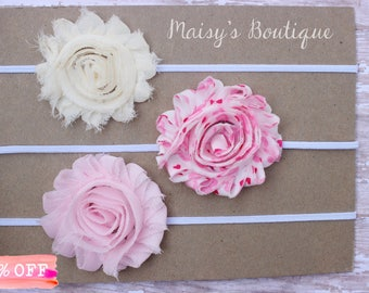 Set of 3- Love Hearts, Ivory and Light Pink Flower Headband Set/ Headband/ Newborn Headband/ Baby Headband/ Wedding/ Photo Prop